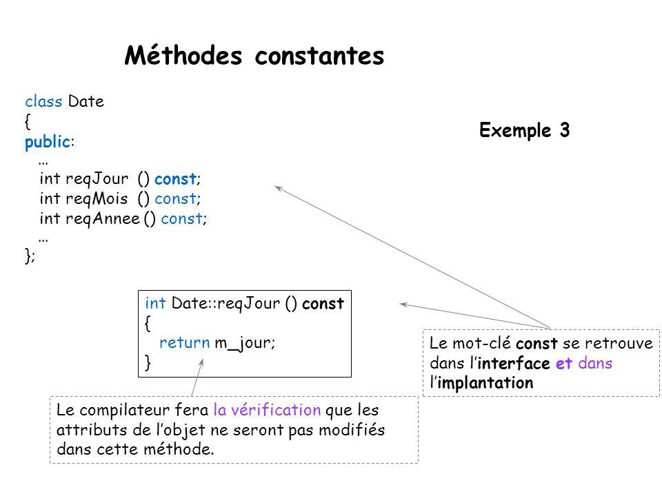 Méthodes constantes Pour permettre au compilateur de mieux optimiser le code, le mot-clé const peut être ajouté à une méthode pour indiquer que celle-ci ne modifiera pas les membres de la classe.