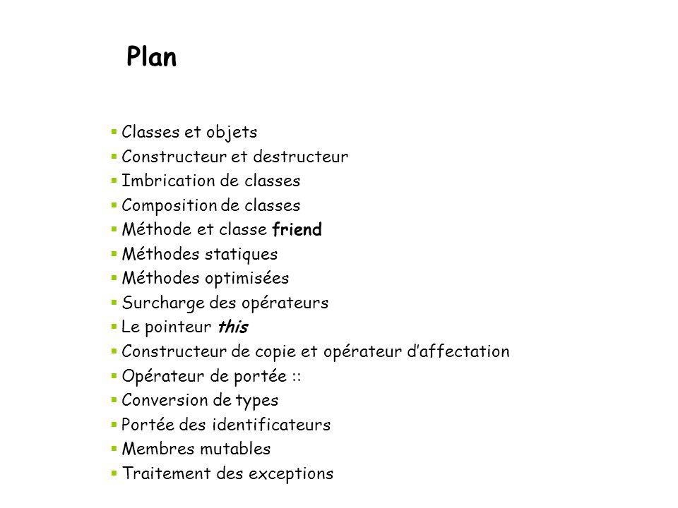 Constructeur / Destructeur class string { public: string(const char* strP); ~string(); private: char *m_strP; }; string::string (const char* strP) { m_strP = new char[strlen(strP)+1]; strcpy (m_strP, strP); } string::~string() { delete [] m_strP; } void main() { string s( Bonjour ); } string déclarée, constructeur appelé Sortie du «scope», destructeur appelé Initialisation et allocation de ressources.