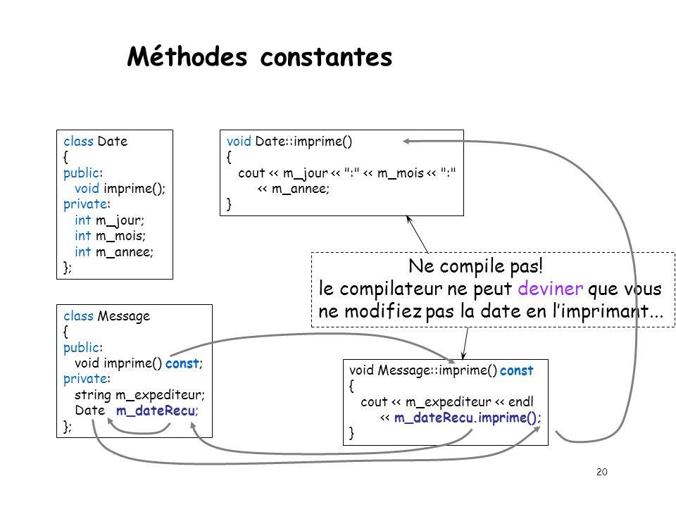 Méthodes constantes Exemple 3 class Date { public:...