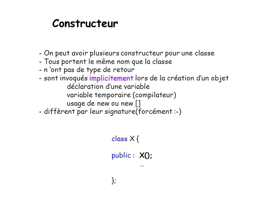Constructeur On observe que la fonction membre Tableau(int) ne retourne aucune valeur et qu elle possède le même nom que la classe dont elle est membre.