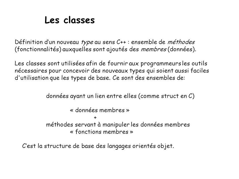 Les classes Définition d'un nouveau type au sens C++ : ensemble de méthodes (fonctionnalités) auxquelles sont ajoutés des membres (données).