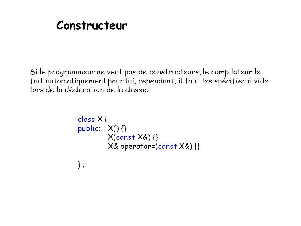 Constructeur - On peut avoir plusieurs constructeur pour une classe - Tous portent le même nom que la classe - n 'ont pas de type de retour - sont invoqués implicitement lors de la création d'un objet déclaration d'une variable variable temporaire (compilateur) usage de new ou new [] - diffèrent par leur signature(forcément :-) class X { public : X(); … };