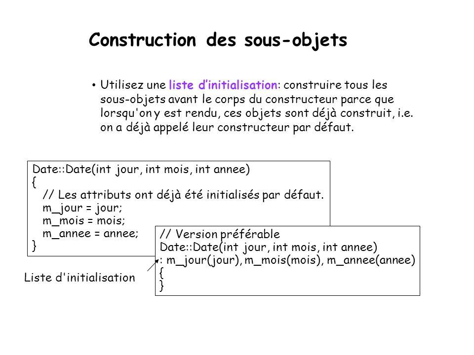 Constructeur Exemple 2 class Date { public: Date(); Date(int jour, int mois, int annee); Date(const std::string& txtDate); }; Date e; Date d(31,3,1997); Date f( 31 mars 1997 ); Date g(31, mars , 1997); Date vDate[10]; Constructeurs dans l'ordre Date(int,string,int); n'existe pas.