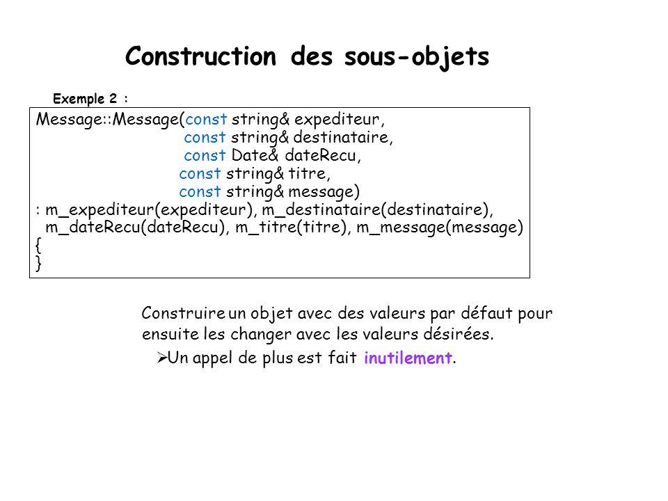 Construction des sous-objets Utilisez une liste d'initialisation: construire tous les sous-objets avant le corps du constructeur parce que lorsqu on y est rendu, ces objets sont déjà construit, i.e.
