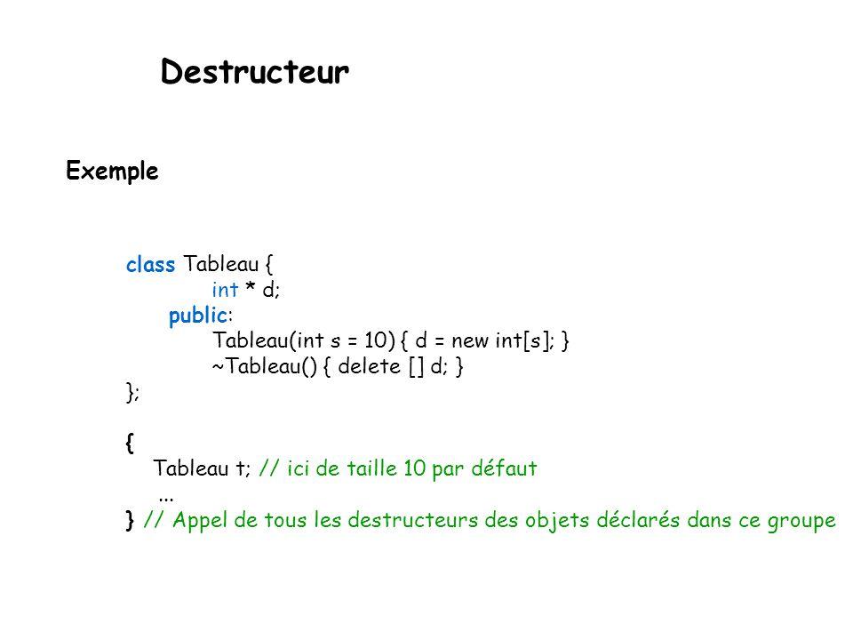 Destructeur Si le programmeur ne définit pas le destructeur, le compilateur le fait automatiquement pour lui, cependant, et comme les constructeurs, il faut le spécifier à « vide » lors de la déclaration de la classe.