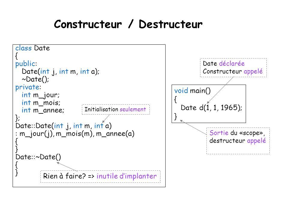 Destructeur class Tableau { int * d; public: Tableau(int s = 10) { d = new int[s]; } ~Tableau() { delete [] d; } }; { Tableau t; // ici de taille 10 par défaut...