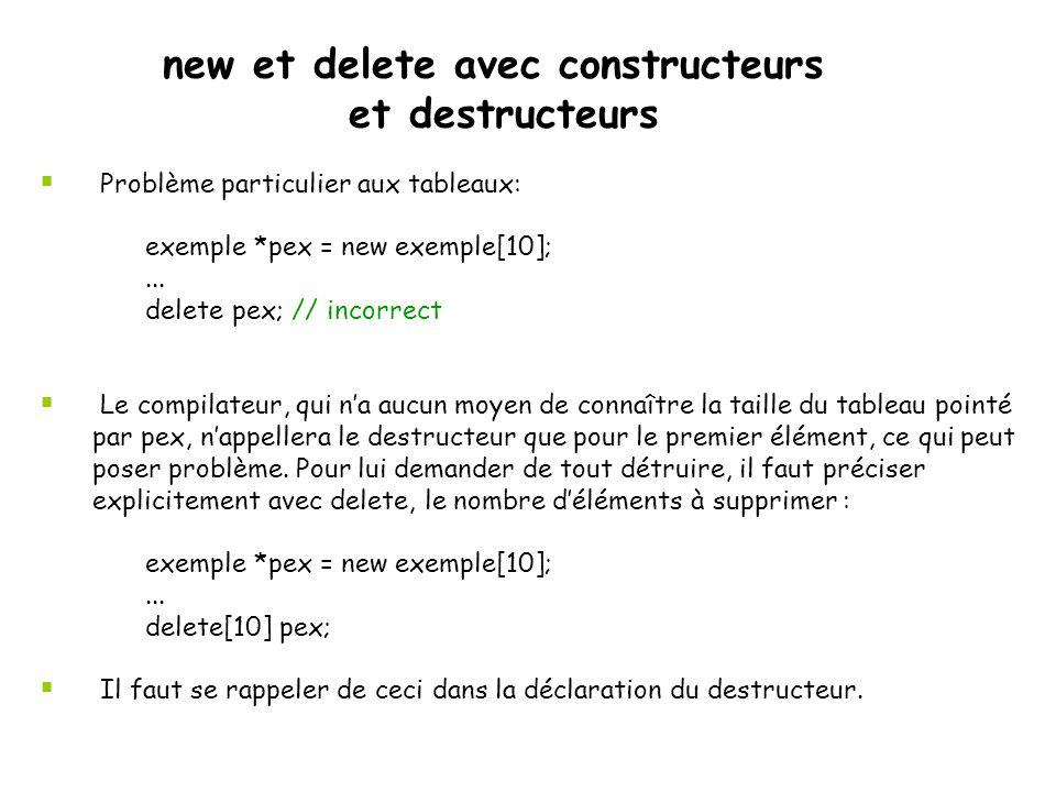 Lorsqu'aucun paramètre n'est précisé le constructeur par défaut est appelé ; s'il n'existe pas, une erreur de compilation se produit.