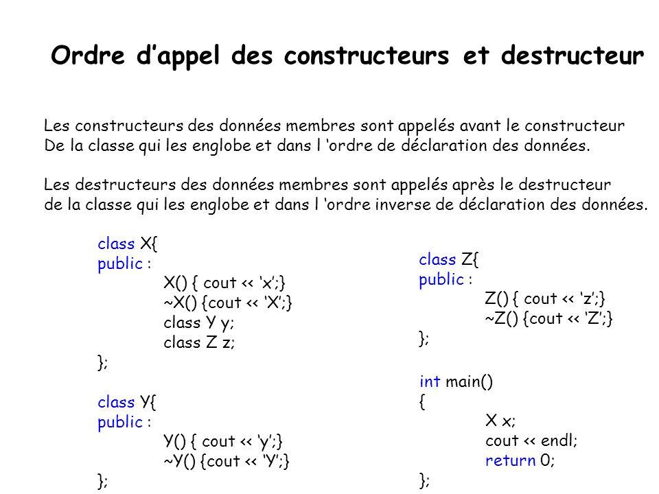  Problème particulier aux tableaux: exemple *pex = new exemple[10];...