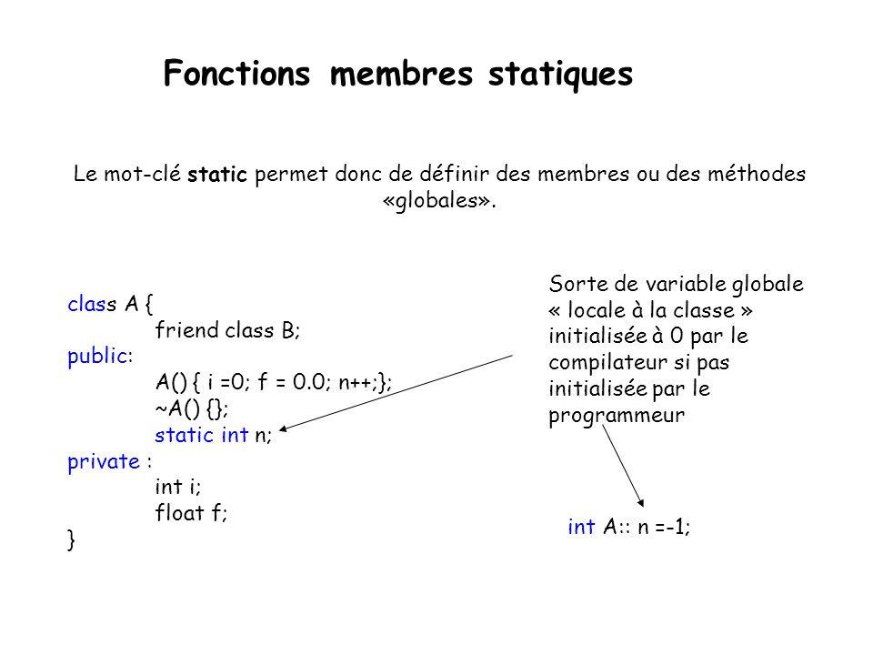 Fonctions membres statiques Méthode de classe ne nécessitant pas la présence d un objet pour le traitement méthode statique.