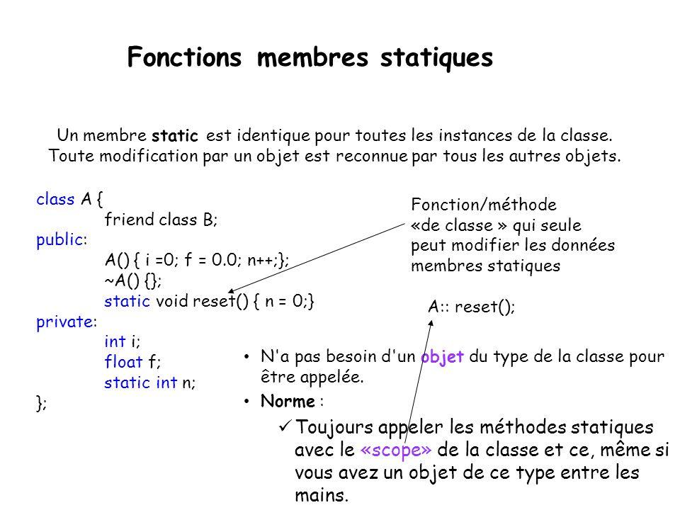 Fonctions membres statiques Le mot-clé static permet donc de définir des membres ou des méthodes «globales».