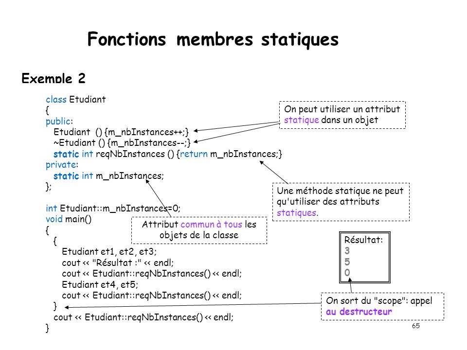 Fonctions membres statiques --- INTERFACE --- class Date { public: void asgDate (int jour, int mois, int annee); static bool valideDate (int jour, int