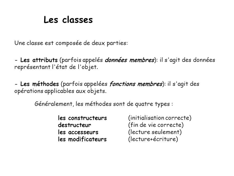 Destructeur La fonction membre ~Tableau() est appelée destructeur, elle est appelé automatiquement quand l'objet ne sera plus utilisé (fermeture d'accolade }).