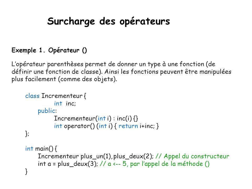 Surcharge des opérateurs On ne peut changer les règles de précédence l'associativité le nombre d'opérandes On ne peut créer de nouveaux opérateurs: |x| i.e.
