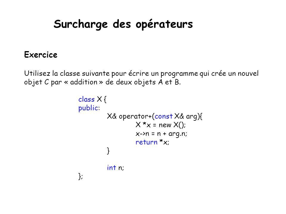 Surcharge des opérateurs  Quand l opérateur + (par exemple) est appelé, le compilateur génère un appel à la fonction operator+.