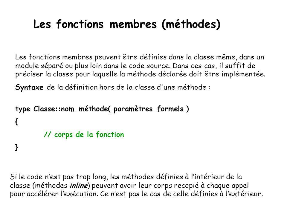 Les fonctions membres (méthodes) Les fonctions membres peuvent être définies dans la classe même, dans un module séparé ou plus loin dans le code source.