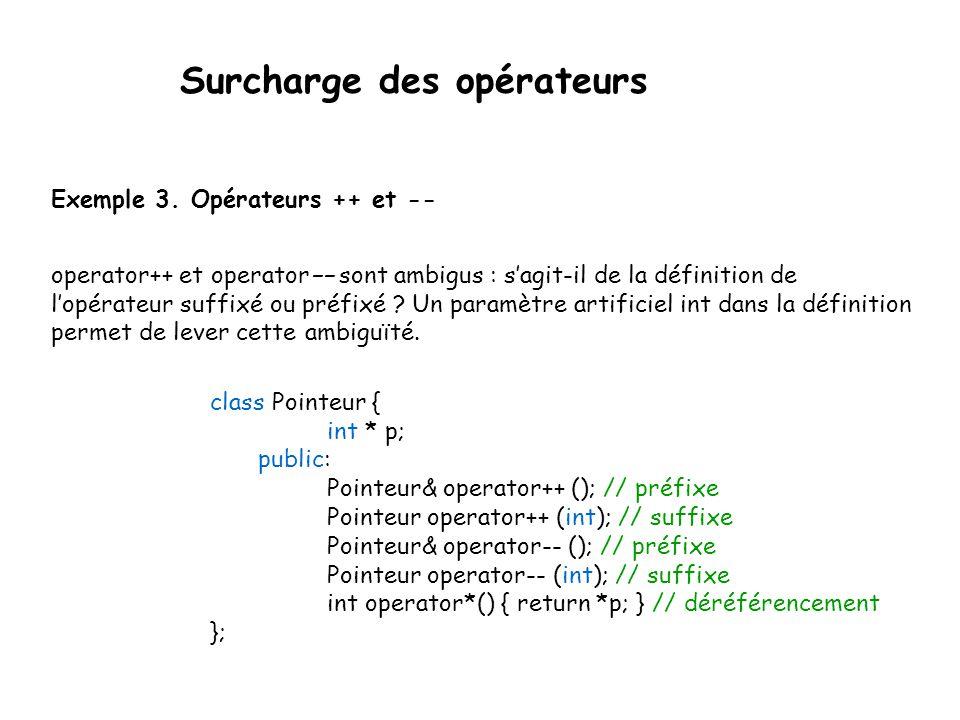 Surcharge des opérateurs Exercice Utilisez la classe suivante pour écrire un programme qui crée un nouvel objet C par « addition » de deux objets A et B.