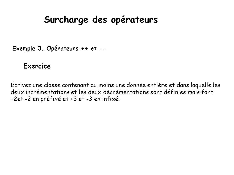 Surcharge des opérateurs operator++ et operator−− sont ambigus : s'agit-il de la définition de l'opérateur suffixé ou préfixé .