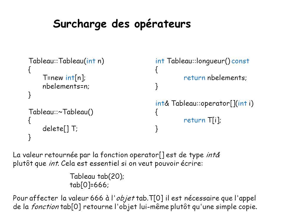 Surcharge des opérateurs L utilité des classes est de pouvoir définir des objets qui soient aussi facile à utiliser que les types de base, ce n est pas le cas du type Tableau que nous avons vu précédemment.