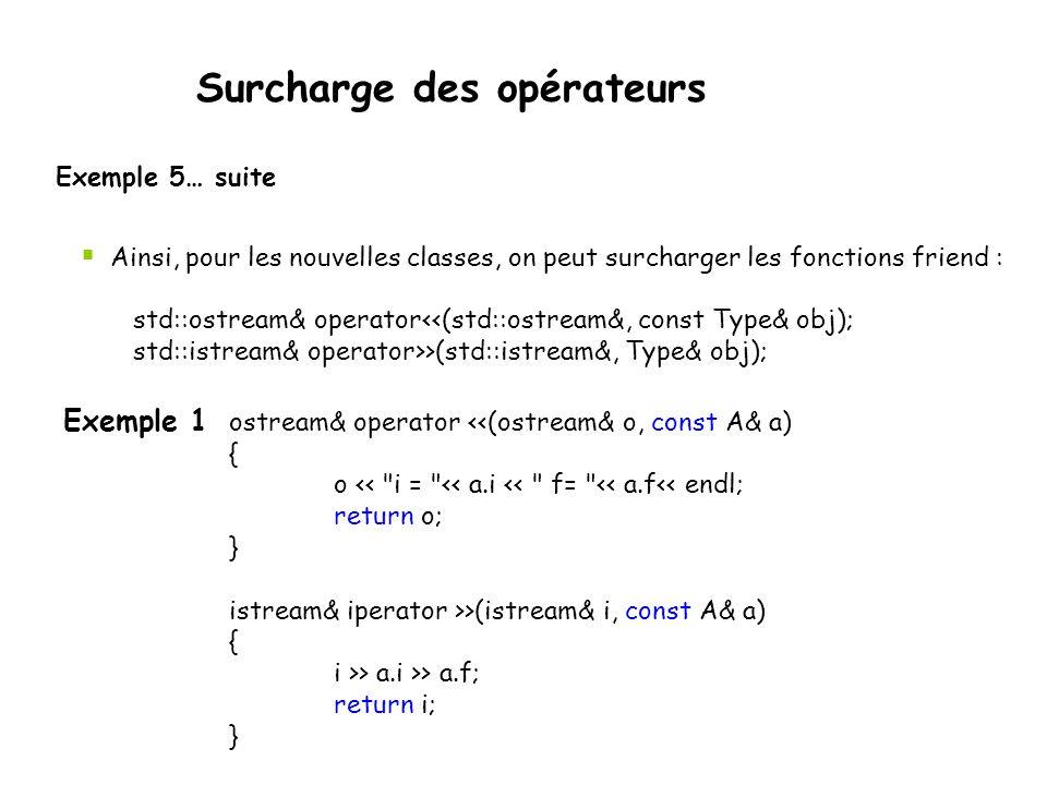 Surcharge des opérateurs Exemple 5… suite Les opérateurs de flot > peuvent aussi être redéfinis mais comme ils sont définis dans les classes « stream » ils ne peuvent être redéfinis dans une nouvelle classe… Solution = fonction/méthode« friend » class A { friend ostream& operator <<(ostream&, const A&); friend istream& operator >>(istream&, const A&); public: A() {i=0; f=0.0;}; ~A() {}; private: int i; float f; };