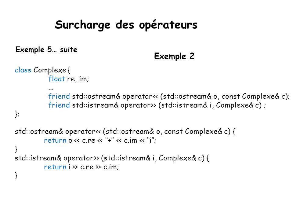  Ainsi, pour les nouvelles classes, on peut surcharger les fonctions friend : std::ostream& operator<<(std::ostream&, const Type& obj); std::istream& operator>>(std::istream&, Type& obj); Surcharge des opérateurs Exemple 5… suite ostream& operator <<(ostream& o, const A& a) { o << i = << a.i << f= << a.f<< endl; return o; } istream& iperator >>(istream& i, const A& a) { i >> a.i >> a.f; return i; } Exemple 1