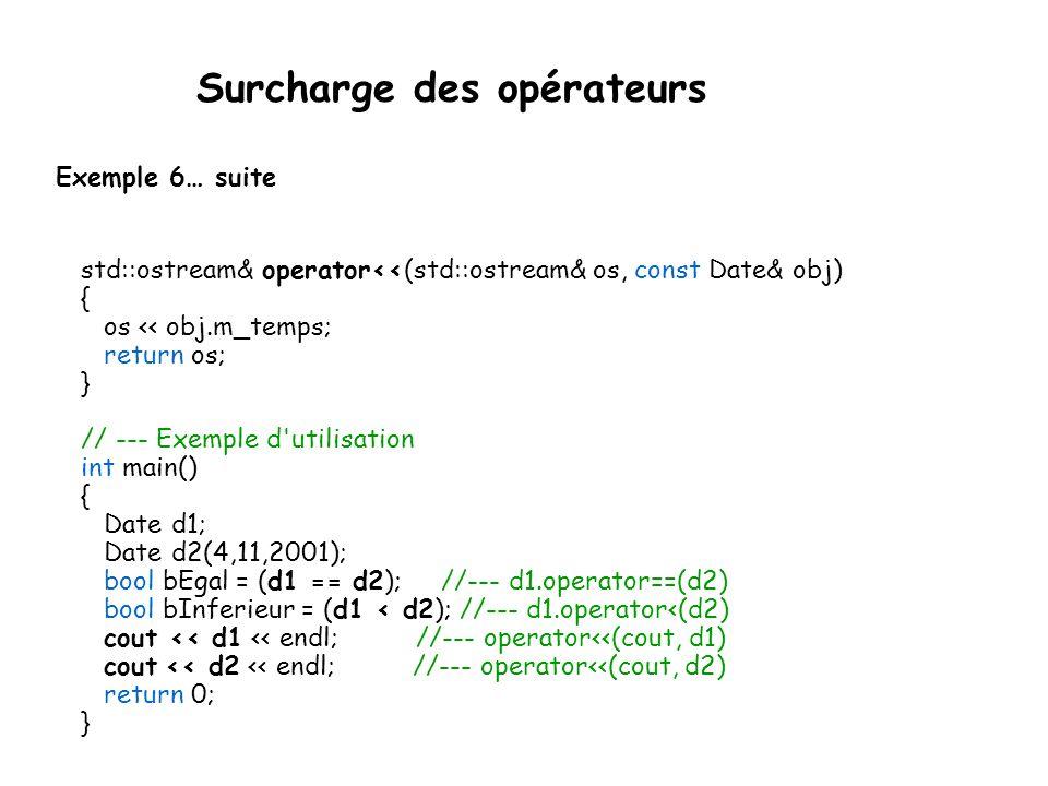Surcharge des opérateurs Exemple 6.