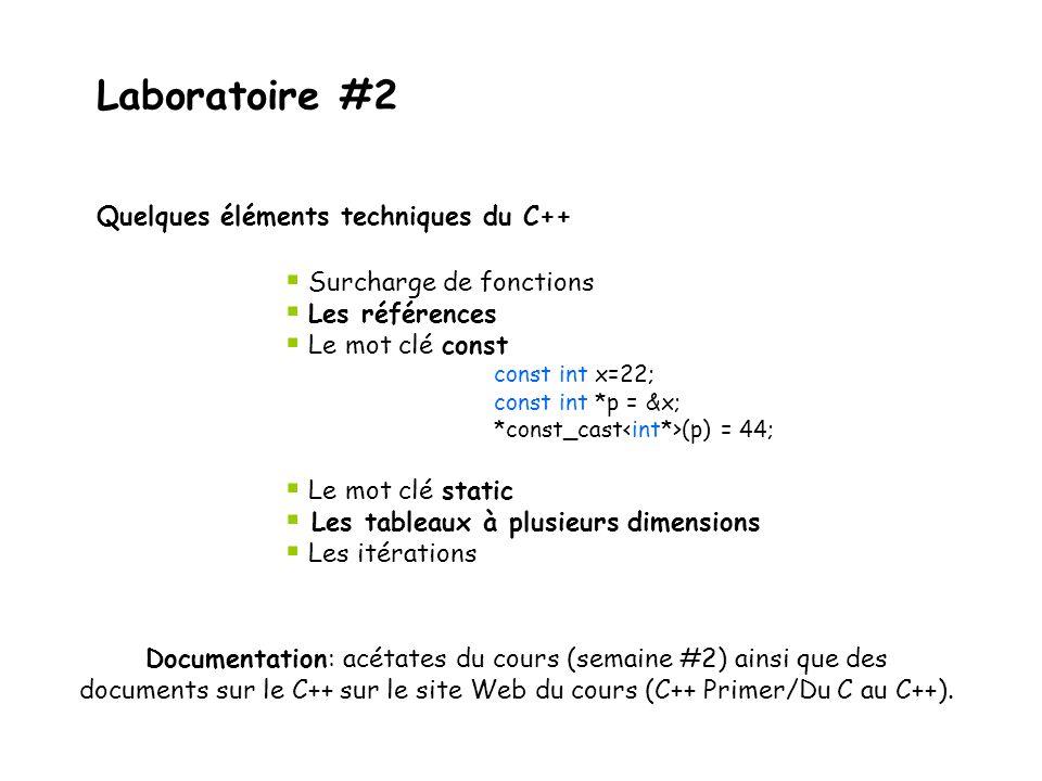 Laboratoire #2  Surcharge de fonctions  Les références  Le mot clé const const int x=22; const int *p = &x; *const_cast (p) = 44;  Le mot clé stat