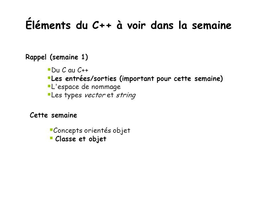 Éléments du C++ à voir dans la semaine Rappel (semaine 1)  Du C au C++  Les entrées/sorties (important pour cette semaine)  L'espace de nommage  L