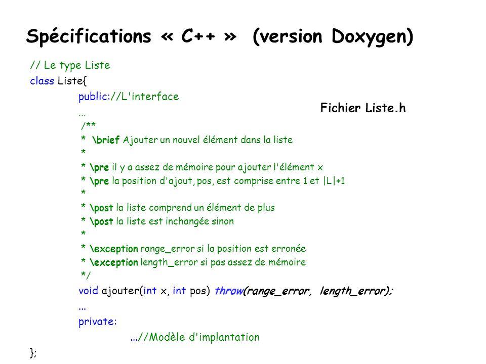 // Le type Liste class Liste{ public://L'interface... /** * \brief Ajouter un nouvel élément dans la liste * * \pre il y a assez de mémoire pour ajout