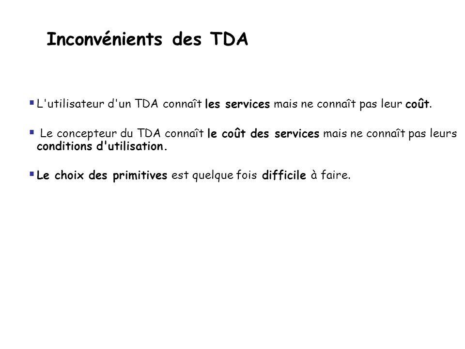 Inconvénients des TDA  L'utilisateur d'un TDA connaît les services mais ne connaît pas leur coût.  Le concepteur du TDA connaît le coût des services