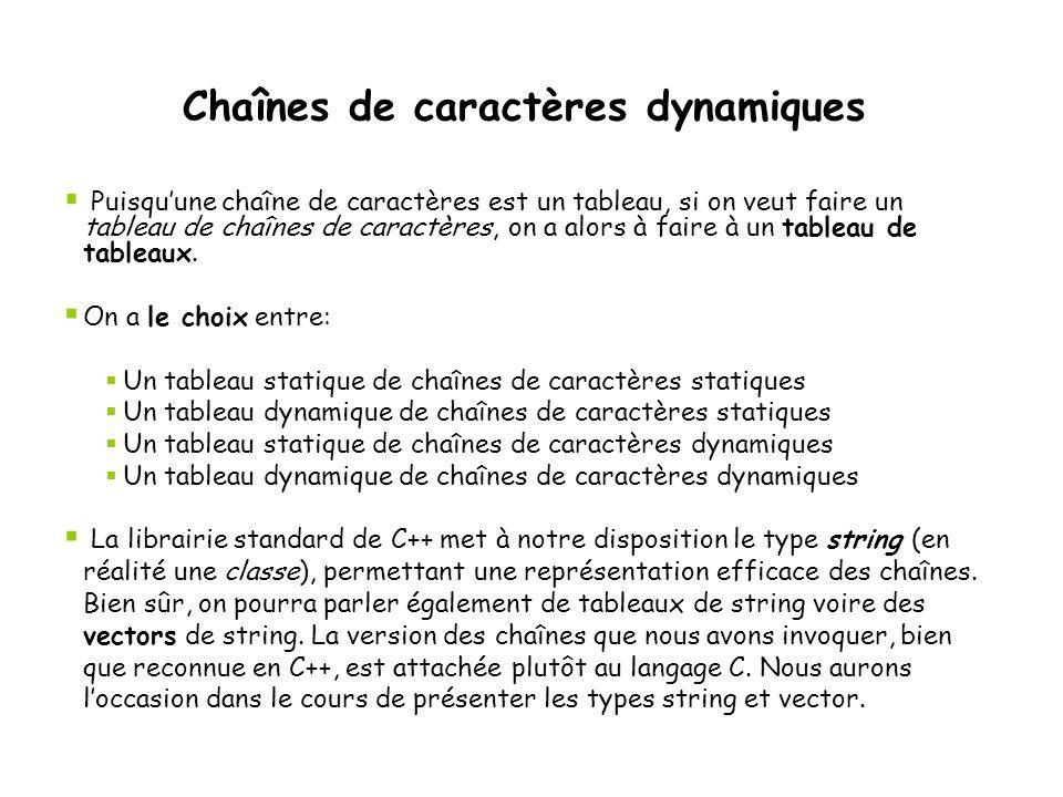 Chaînes de caractères dynamiques  Puisqu'une chaîne de caractères est un tableau, si on veut faire un tableau de chaînes de caractères, on a alors à