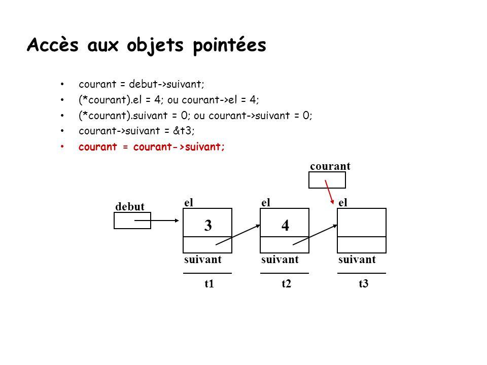 courant = debut->suivant; (*courant).el = 4; ou courant->el = 4; (*courant).suivant = 0; ou courant->suivant = 0; courant->suivant = &t3; courant = co