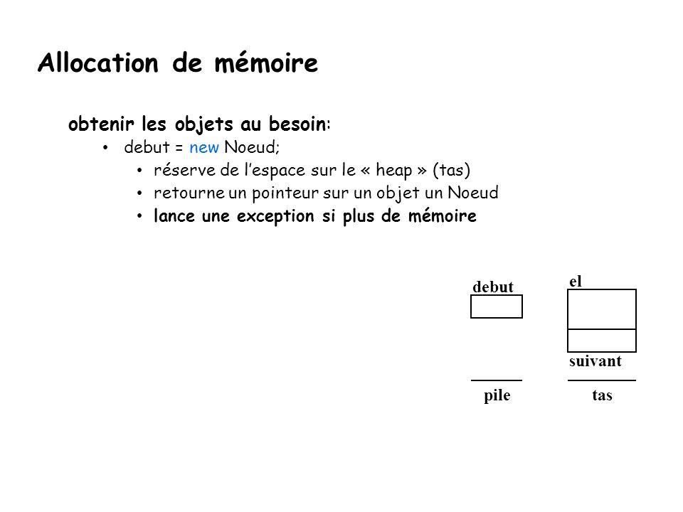 Allocation de mémoire obtenir les objets au besoin: debut = new Noeud; réserve de l'espace sur le « heap » (tas) retourne un pointeur sur un objet un