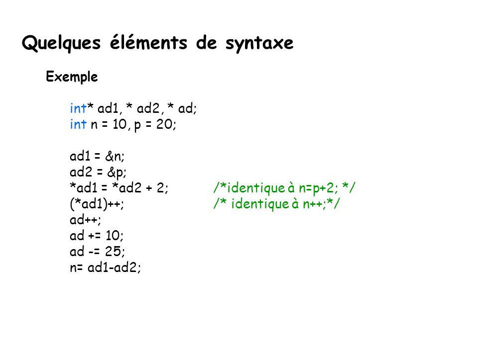 Exemple int* ad1, * ad2, * ad; int n = 10, p = 20; ad1 = &n; ad2 = &p; *ad1 = *ad2 + 2; /*identique à n=p+2; */ (*ad1)++; /* identique à n++;*/ ad++;