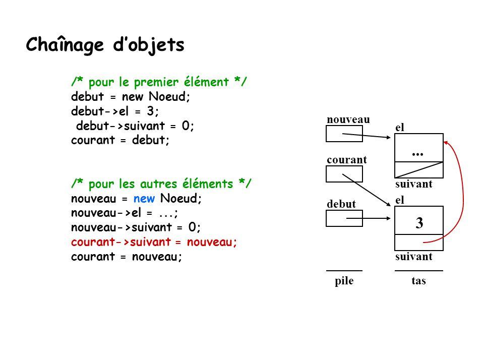 debut el suivant taspile 3 nouveau courant el suivant... Chaînage d'objets /* pour le premier élément */ debut = new Noeud; debut->el = 3; debut->suiv
