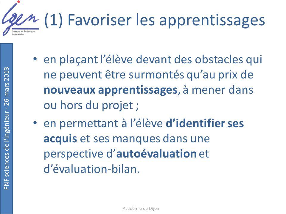 PNF sciences de l'ingénieur - 26 mars 2013 (1) Favoriser les apprentissages en plaçant l'élève devant des obstacles qui ne peuvent être surmontés qu'a