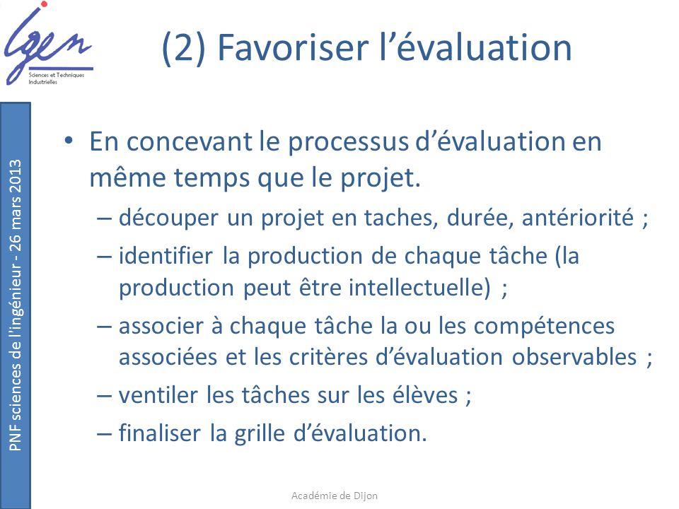 PNF sciences de l'ingénieur - 26 mars 2013 (2) Favoriser l'évaluation En concevant le processus d'évaluation en même temps que le projet. – découper u