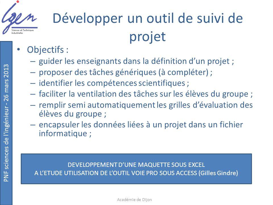 PNF sciences de l'ingénieur - 26 mars 2013 Développer un outil de suivi de projet Objectifs : – guider les enseignants dans la définition d'un projet