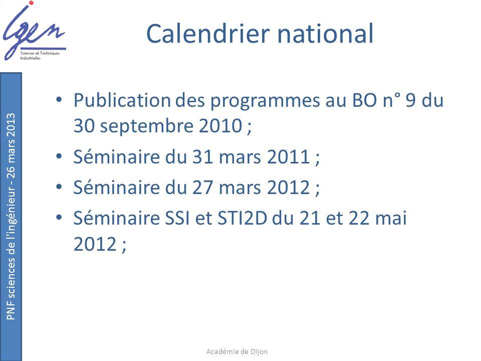 PNF sciences de l'ingénieur - 26 mars 2013 Calendrier national Publication des programmes au BO n° 9 du 30 septembre 2010 ; Séminaire du 31 mars 2011