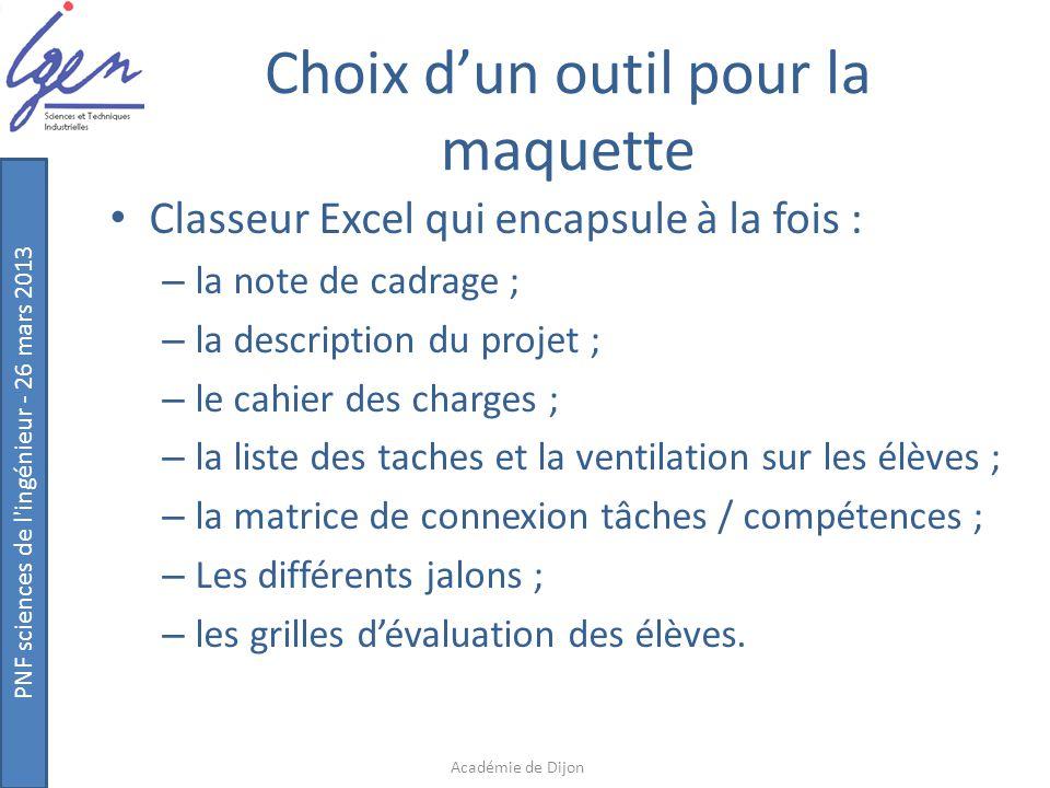 PNF sciences de l'ingénieur - 26 mars 2013 Choix d'un outil pour la maquette Classeur Excel qui encapsule à la fois : – la note de cadrage ; – la desc