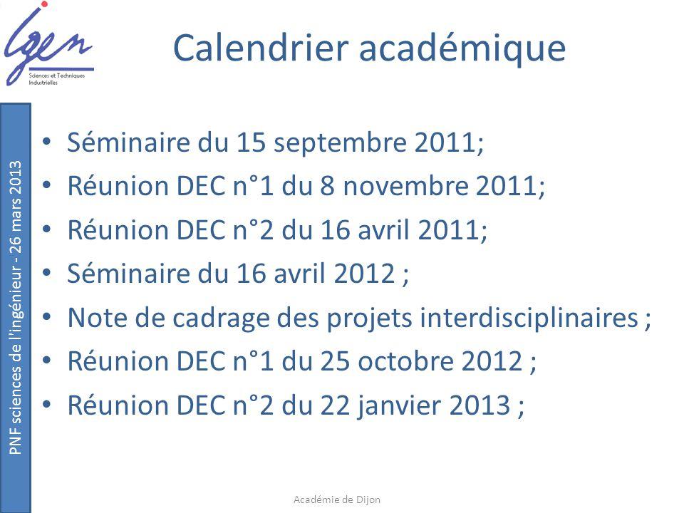 PNF sciences de l'ingénieur - 26 mars 2013 Calendrier académique Séminaire du 15 septembre 2011; Réunion DEC n°1 du 8 novembre 2011; Réunion DEC n°2 d