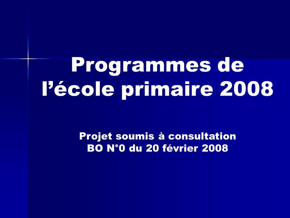 Programmes de l'école primaire 2008 Projet soumis à consultation BO N°0 du 20 février 2008