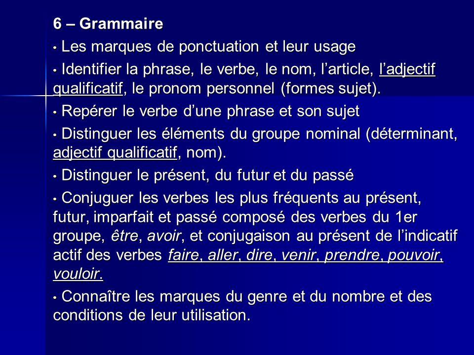 6 – Grammaire Les marques de ponctuation et leur usage Les marques de ponctuation et leur usage Identifier la phrase, le verbe, le nom, l'article, l'adjectif qualificatif, le pronom personnel (formes sujet).
