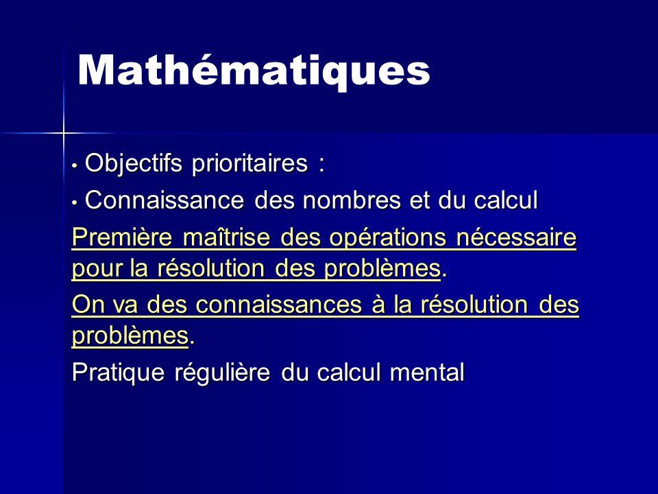Mathématiques Objectifs prioritaires : Objectifs prioritaires : Connaissance des nombres et du calcul Connaissance des nombres et du calcul Première maîtrise des opérations nécessaire pour la résolution des problèmes.