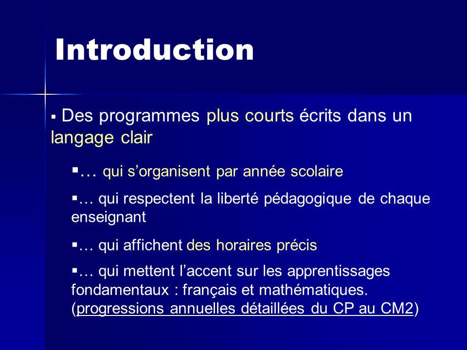 Introduction   Des programmes plus courts écrits dans un langage clair   … qui s'organisent par année scolaire   … qui respectent la liberté pédagogique de chaque enseignant   … qui affichent des horaires précis   … qui mettent l'accent sur les apprentissages fondamentaux : français et mathématiques.
