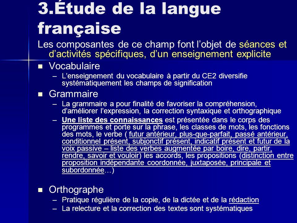 3.Étude de la langue française Les composantes de ce champ font l'objet de séances et d'activités spécifiques, d'un enseignement explicite Vocabulaire – –L'enseignement du vocabulaire à partir du CE2 diversifie systématiquement les champs de signification Grammaire – –La grammaire a pour finalité de favoriser la compréhension, d'améliorer l'expression, la correction syntaxique et orthographique – –Une liste des connaissances est présentée dans le corps des programmes et porte sur la phrase, les classes de mots, les fonctions des mots, le verbe ( futur antérieur, plus-que-parfait, passé antérieur, conditionnel présent, subjonctif présent, indicatif présent et futur de la voix passive – liste des verbes augmentée par boire, dire, partir, rendre, savoir et vouloir) les accords, les propositions (distinction entre proposition indépendante coordonnée, juxtaposée, principale et subordonnée…) Orthographe – –Pratique régulière de la copie, de la dictée et de la rédaction – –La relecture et la correction des textes sont systématiques