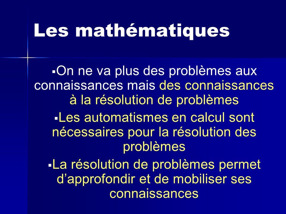 Les mathématiques   On ne va plus des problèmes aux connaissances mais des connaissances à la résolution de problèmes   Les automatismes en calcul sont nécessaires pour la résolution des problèmes   La résolution de problèmes permet d'approfondir et de mobiliser ses connaissances