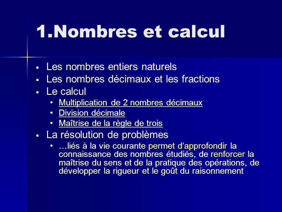 1.Nombres et calcul   Les nombres entiers naturels   Les nombres décimaux et les fractions   Le calcul Multiplication de 2 nombres décimaux Division décimale Maîtrise de la règle de trois   La résolution de problèmes …liés à la vie courante permet d'approfondir la connaissance des nombres étudiés, de renforcer la maîtrise du sens et de la pratique des opérations, de développer la rigueur et le goût du raisonnement