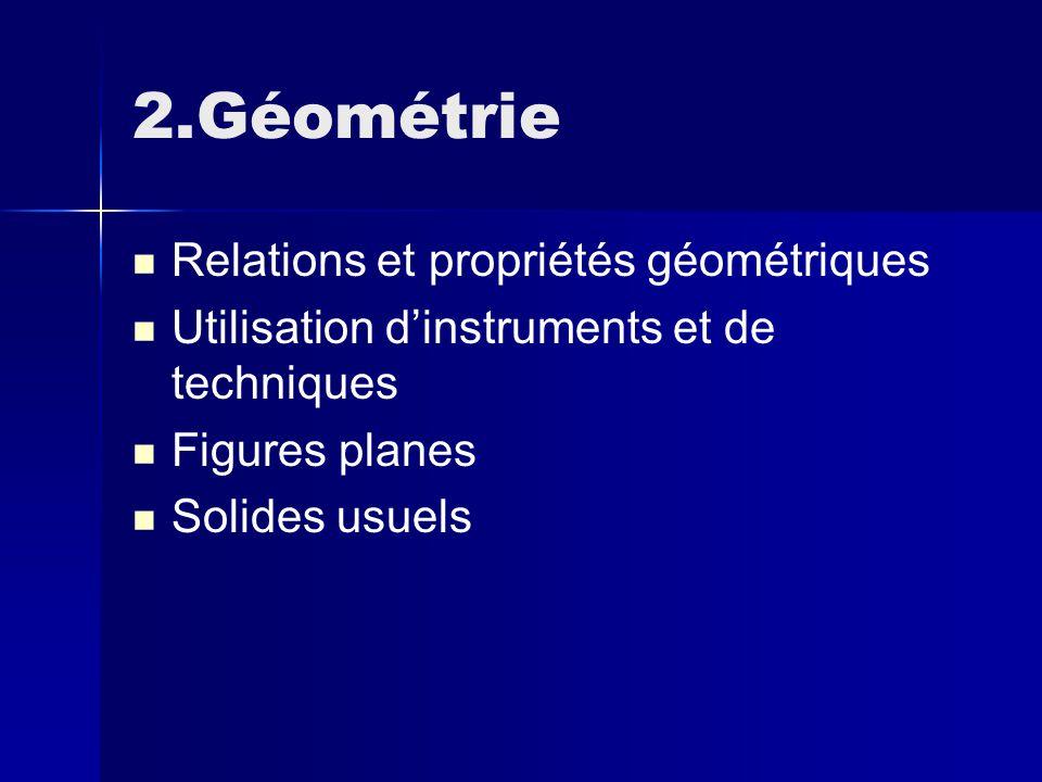 2.Géométrie Relations et propriétés géométriques Utilisation d'instruments et de techniques Figures planes Solides usuels