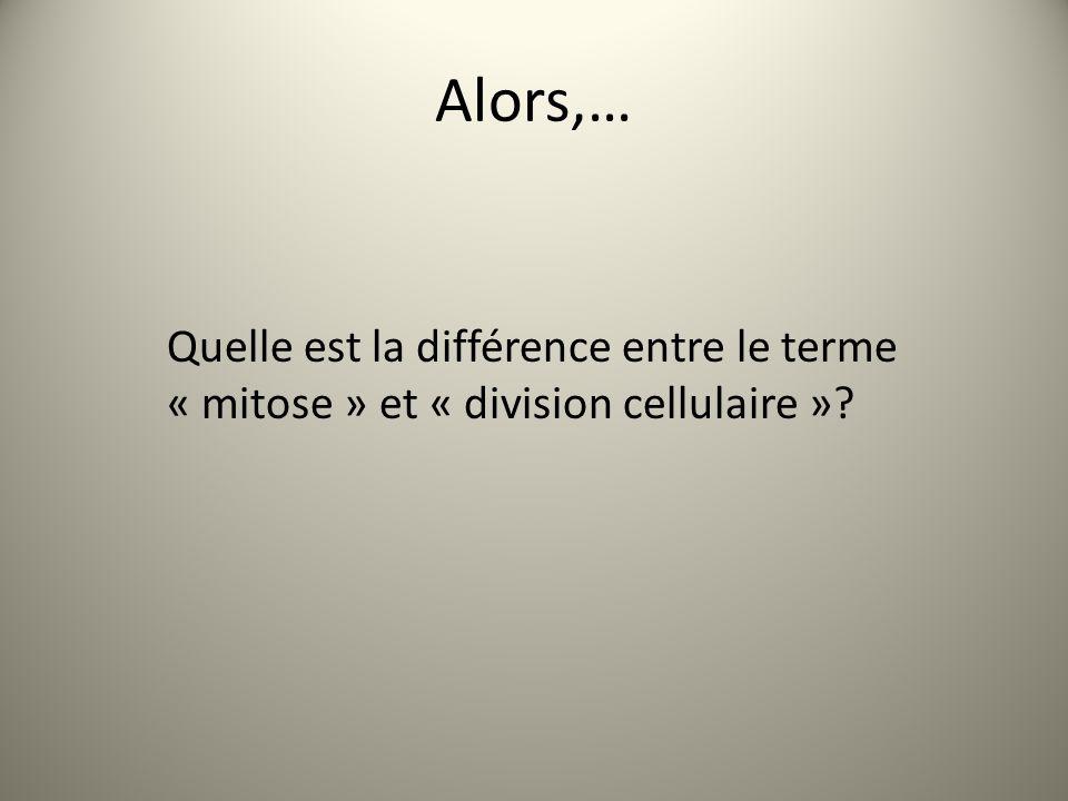 Alors,… Quelle est la différence entre le terme « mitose » et « division cellulaire »?