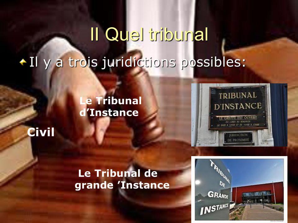II Quel tribunal CIVIL Spécialisé Tribunal de commerce Conseil des Prud hommes